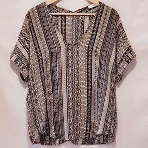LUSH Nordstrom tribal print loose blouse V neck S